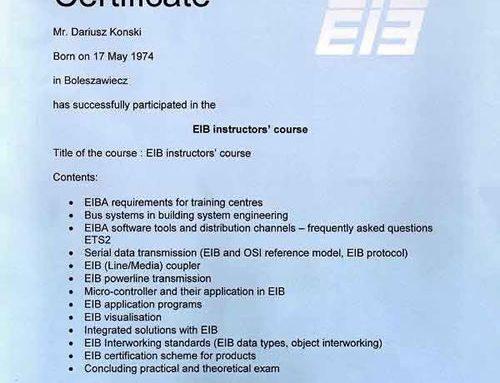 Certyfikat EIB Instructors