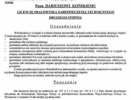 Licencja Pracownika Zabezpieczenia Technicznego